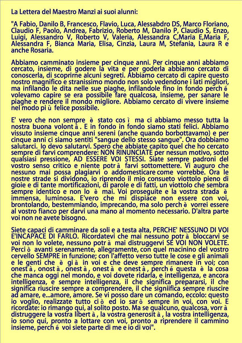 lettera alla prof di italiano